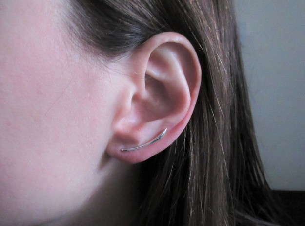 Minimal leaf ear climbers in Polished Silver