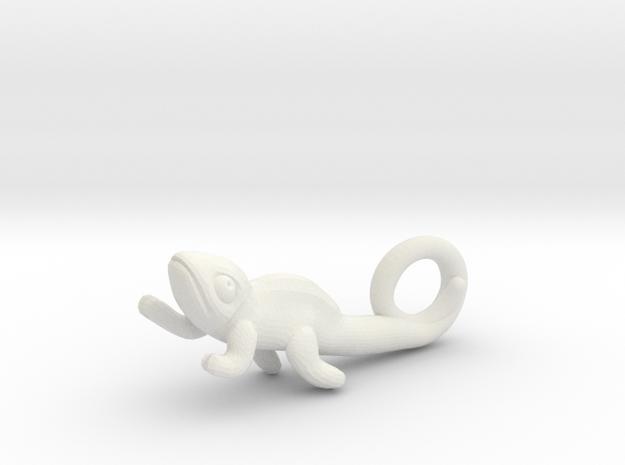 Chameleon Pendant (Small) in White Natural Versatile Plastic