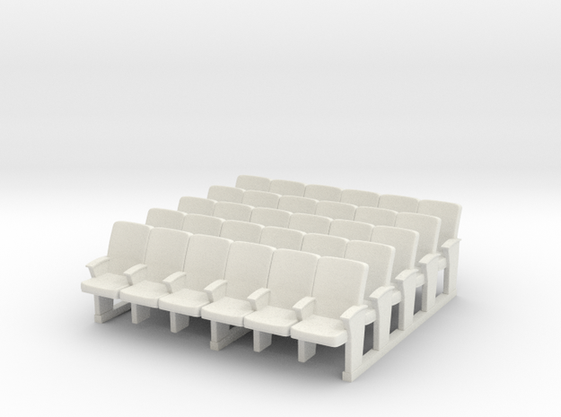 Cinema seats 01 . 1:87 Scale (HO) in White Natural Versatile Plastic