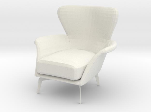 1:24 Armchair in White Natural Versatile Plastic: 1:24