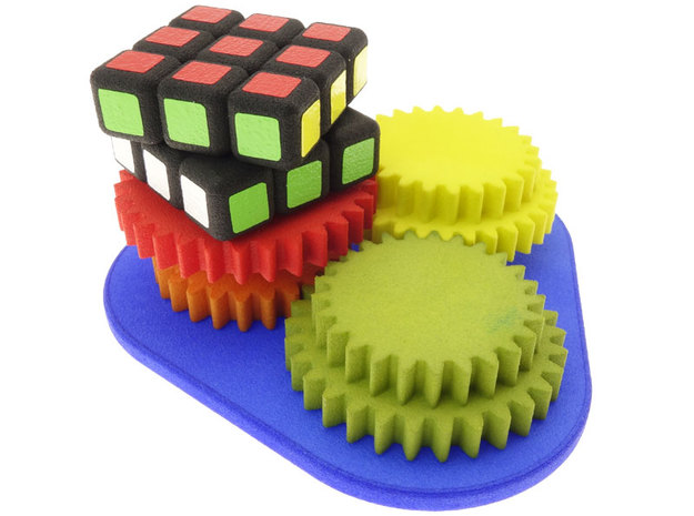 Cube-Root-of-Two Gears in White Natural Versatile Plastic