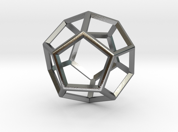 Wireframe Polyhedral Charm D12/Dodecahedron in Polished Silver