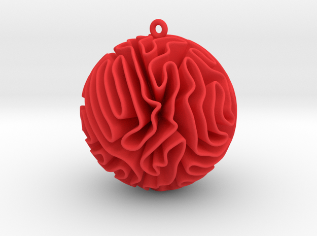 Coral Christmas Bauble in Red Processed Versatile Plastic