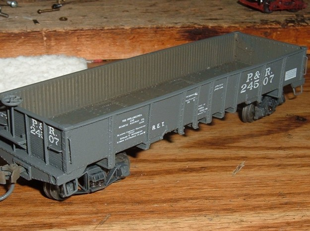 HO N S Scale GAc  P&R Gondola Drop Bottom Reading  in Smooth Fine Detail Plastic: 1:87 - HO