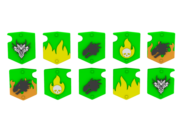 Space Dragons Shoulder Shields in Smooth Fine Detail Plastic