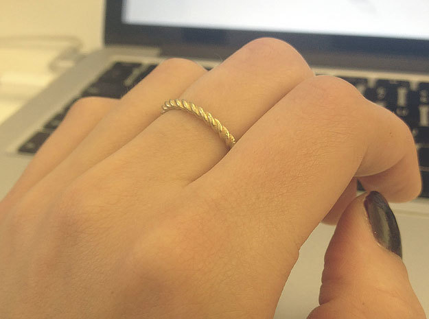 Ring Twisted US Size 7, 17.3 Mm in Natural Brass