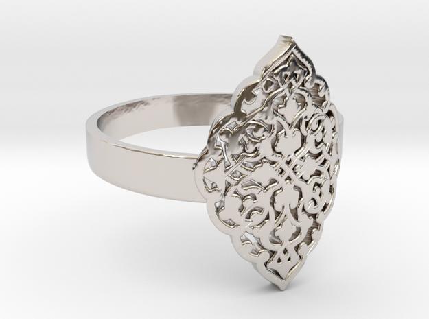 Filigree Fancy Ring KTRF01 3D STL by KTkaRAJ in Rhodium Plated Brass