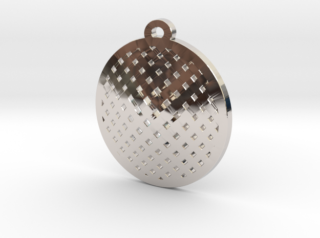 sieve pendant in Rhodium Plated Brass