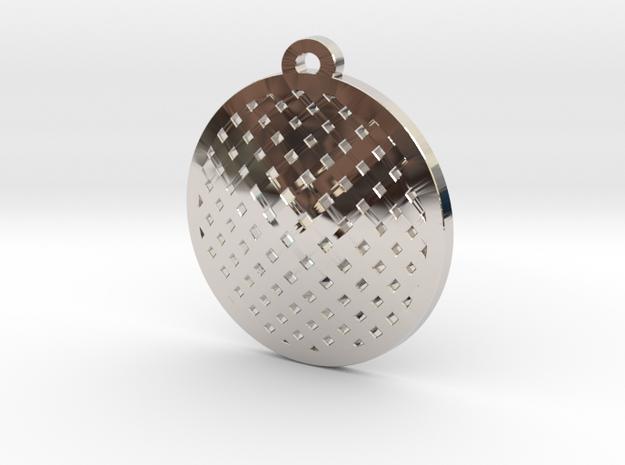 sieve pendant in Rhodium Plated Brass
