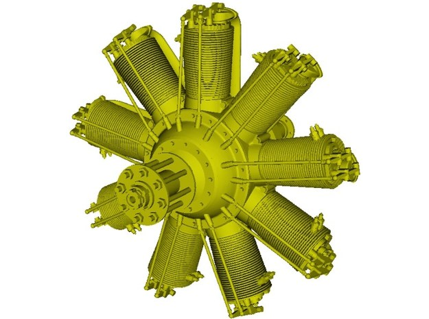 1/16 scale Clerget 9B 130 Hp radial engine x 1 in Smooth Fine Detail Plastic