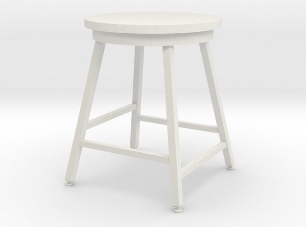 1:12 Miniature Industrial-style Bar Stool in White Natural Versatile Plastic
