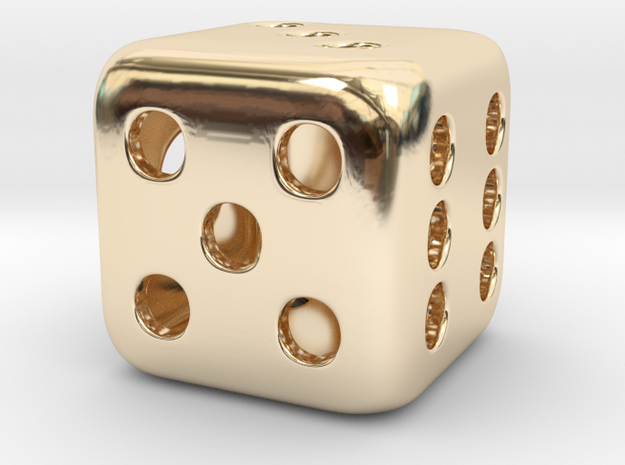 Dice Pendant in 14k Gold Plated Brass