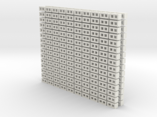 Cinder Block Loose (300) 1-64 scale in White Natural Versatile Plastic
