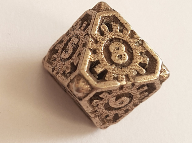 Steampunk D8 hollow in Polished Bronzed-Silver Steel: d8