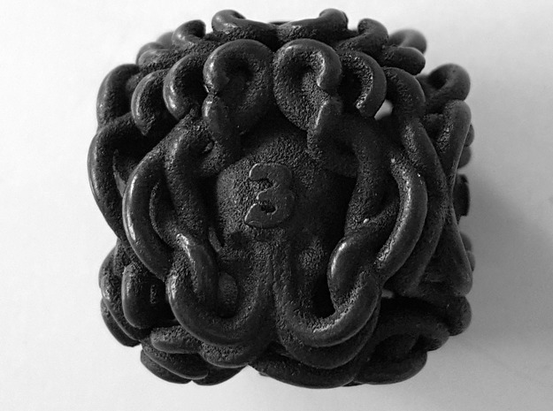 Mind Flayer D6 in Polished and Bronzed Black Steel