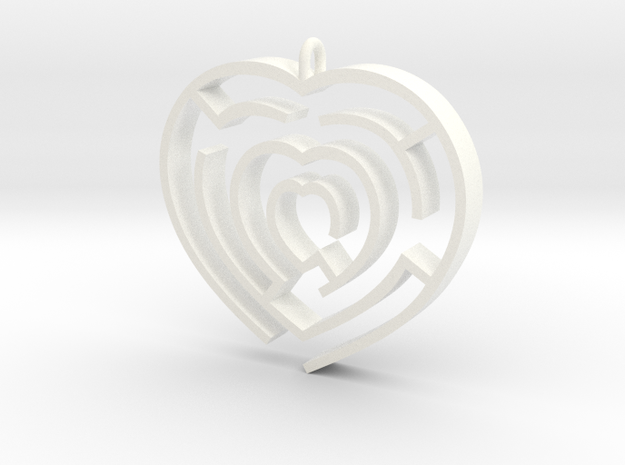 Heart maze pendant 3d printed Gold plated