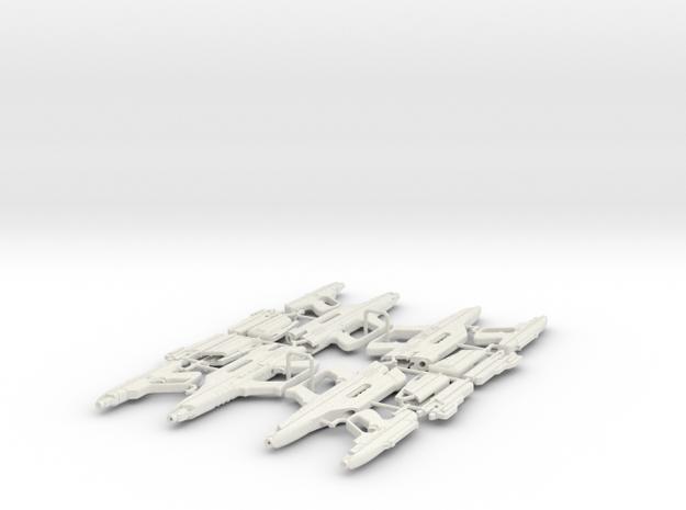 1/6 STARLYTE PISTOL & RIFLE X4 in White Natural Versatile Plastic