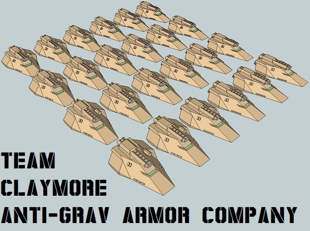 """Team Claymore"" 3mm Anti-Grav Tanks (24pcs) in Smooth Fine Detail Plastic"