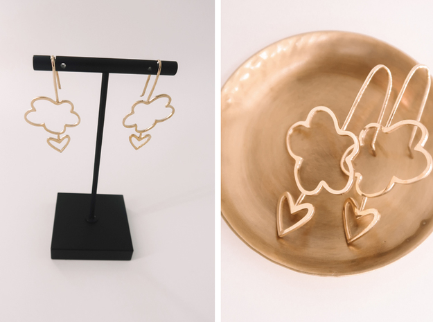 Heart in the Clouds in Polished Brass