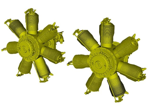 1/15 scale Gnome 7 Omega rotary engines x 2 in Smooth Fine Detail Plastic