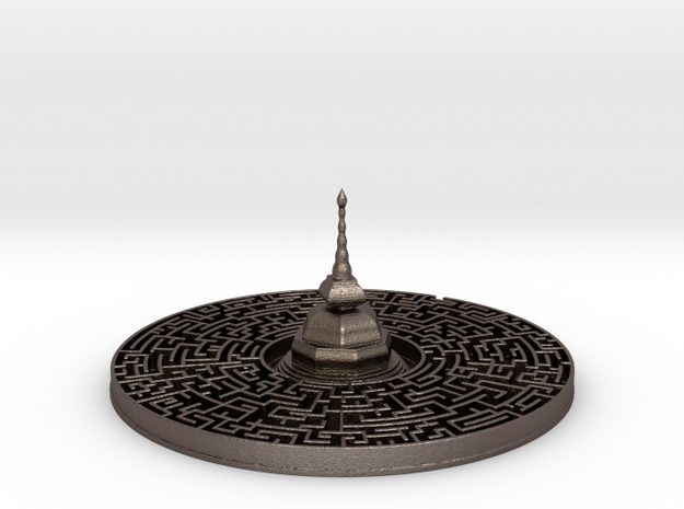 Maze Pagoda in Polished Bronzed-Silver Steel