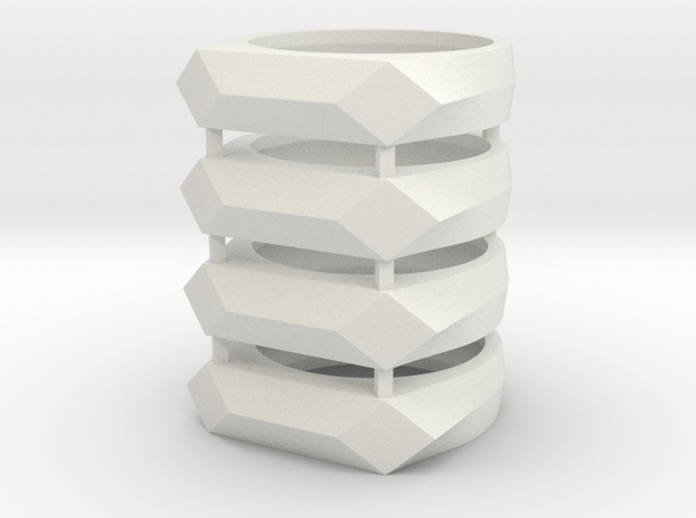 Gamora's Faceted ring, 4x vertical stack in White Natural Versatile Plastic: 6 / 51.5