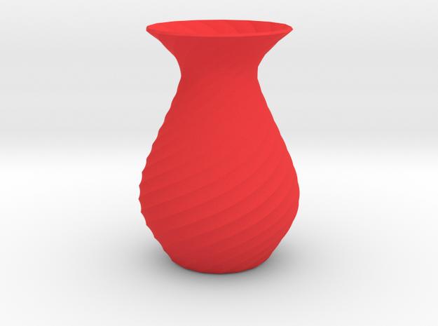 Spiral vase planter pot in Red Processed Versatile Plastic