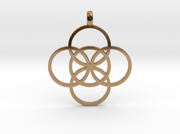 FIVE FOLD Symbol Jewelry Pendant in Polished Brass