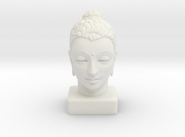 Gandhara Buddha 12 inches in White Natural Versatile Plastic