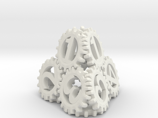 Static Gear Die (D4) in White Natural Versatile Plastic
