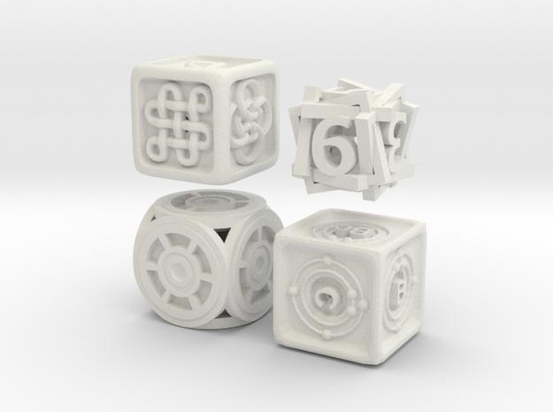 Dice Bundle 01 in White Natural Versatile Plastic
