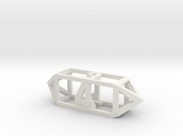 Hollow Barrel Dice D4 in White Natural Versatile Plastic