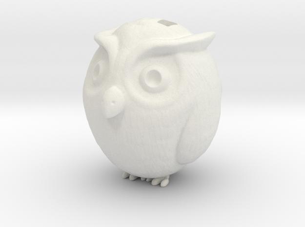 Owl charm in White Natural Versatile Plastic: Medium