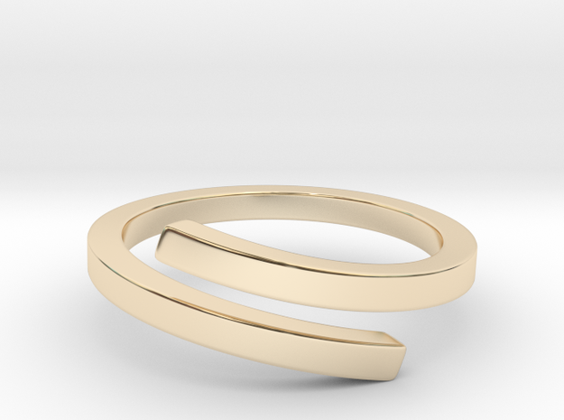 Square Open Ring in 14k Gold Plated Brass: 8 / 56.75
