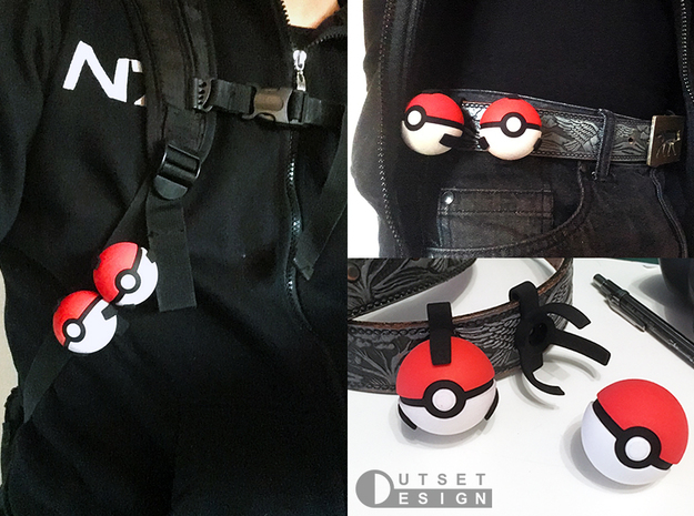 Small pokeball - Ring - 1:1 scale in Black Premium Versatile Plastic