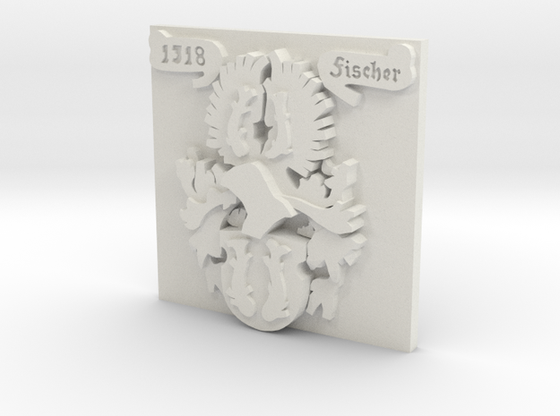 Fischer Family Crest - One Inch Square in White Natural Versatile Plastic