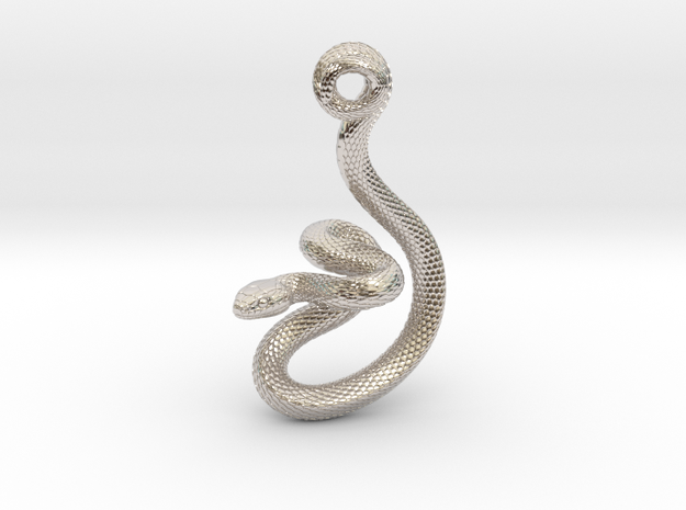 Snake Pendant_P03 in Rhodium Plated Brass