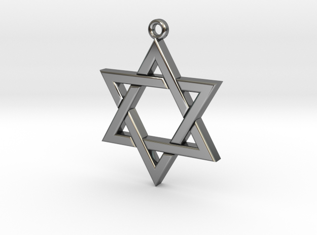 Star of David small in Fine Detail Polished Silver