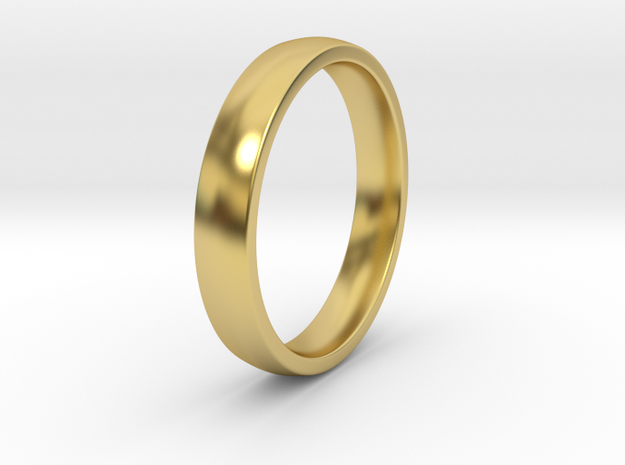 Simple Ring _ D in Polished Brass: 8 / 56.75