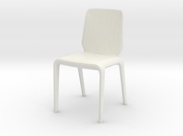 Modern Miniature 1:24 Chair in White Natural Versatile Plastic: 1:24
