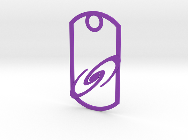Spiral galaxy dog tag in Purple Processed Versatile Plastic