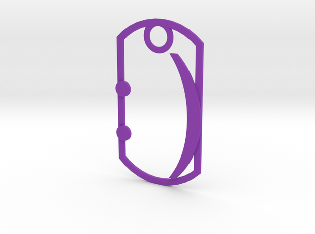 Smilie dog tag in Purple Processed Versatile Plastic