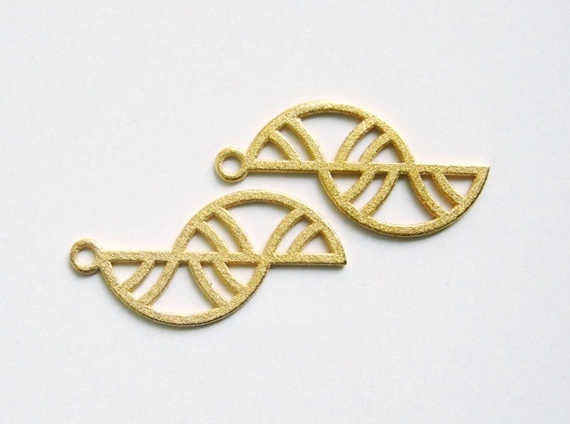 Geometric Earrings - 3D Printed in Metal 3d printed Trellis Earrings in Polished Gold Steel