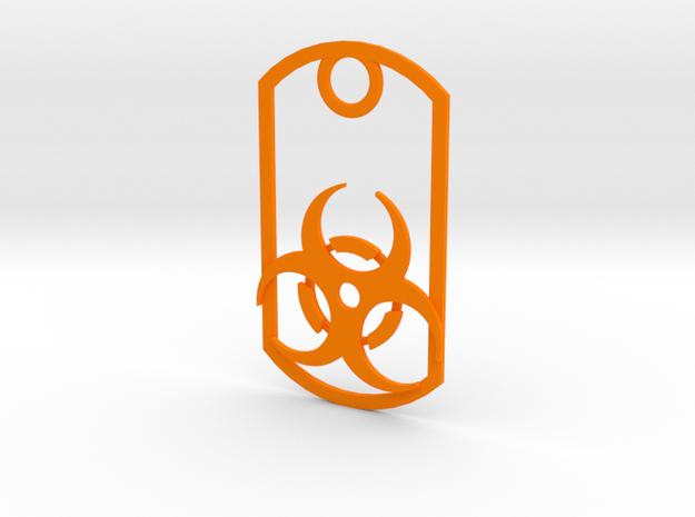 Biohazard dog tag in Orange Processed Versatile Plastic