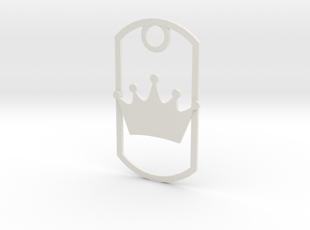 Crown dog tag in White Natural Versatile Plastic