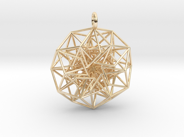 6D Cube in its Toroidal form - 40x1mm - 61 vertex  in 14k Gold Plated Brass