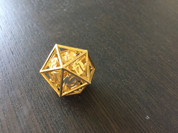 20-Sided Vector Die in Natural Brass