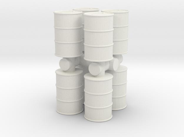 Oil Barrel (x8) 1/76 in White Natural Versatile Plastic