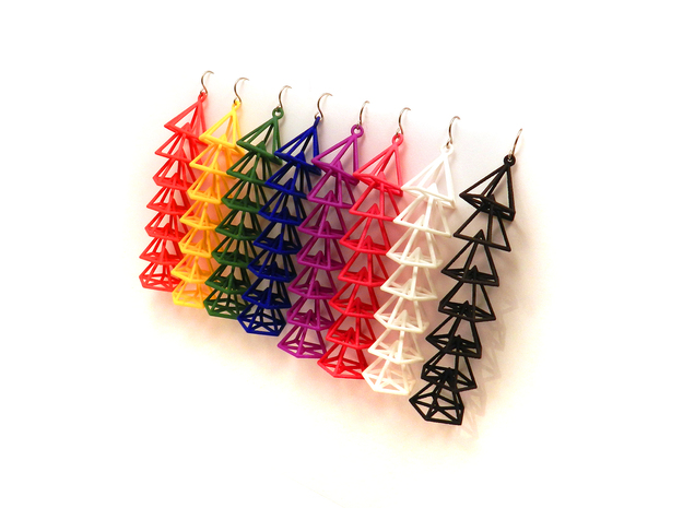 Pyramid Earrings 3d printed all the colors!