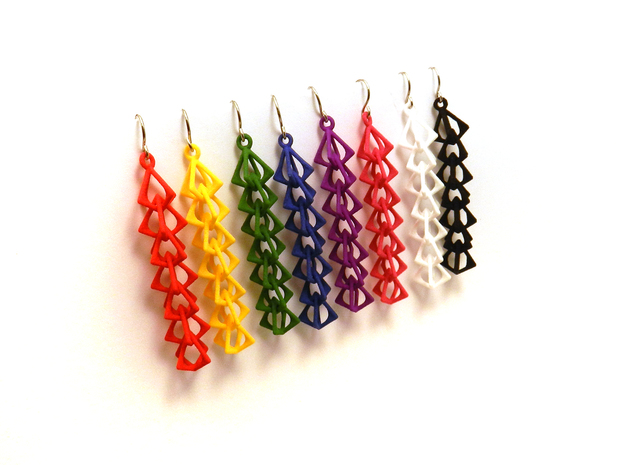 Diamond Earrings 3d printed all the colors!